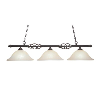 Elegante 3-Light Kitchen Island Pendant Shade Color: Amber