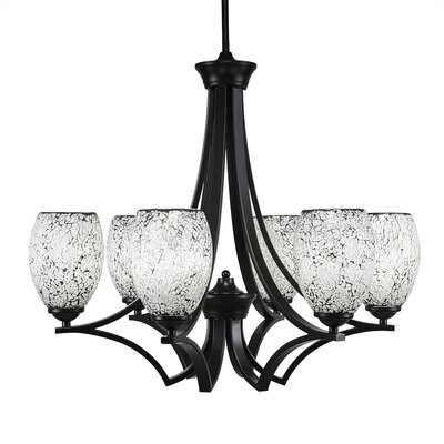 Zilo 6-Light Shaded Chandelier Finish: Matte Black, Shade Color: Natural