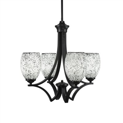 Zilo 4-Light Shaded Chandelier Finish: Matte Black, Shade Color: Black