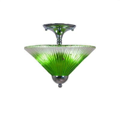 2-Light Semi Flush Mount Finish: Silver, Shade Color: Kiwi Green