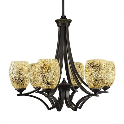 Zilo 6-Light Shaded Chandelier Shade Color: Gold