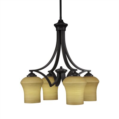 Zilo 4-Light Shaded Chandelier Finish: Dark Granite, Shade Color: Cayenne