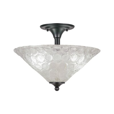 2-Light Semi Flush Mount Finish: Matte Black