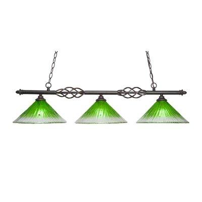 Elegante 3-Light Kitchen Island Pendant Shade Color: Kiwi Green
