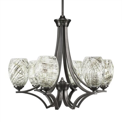 Zilo 6-Light Shaded Chandelier Finish: Graphite, Shade Color: Natural