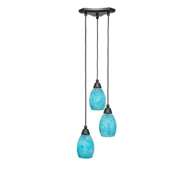Europa 3-Light Cascade Pendant Shade Color: Turquoise, Size: 8.5
