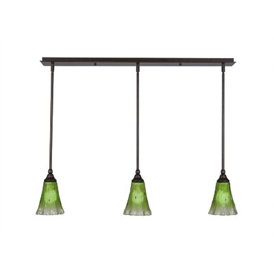 Any 3-Light Kitchen Island Pendant Finish: Dark Granite, Shade Color: Raspberry