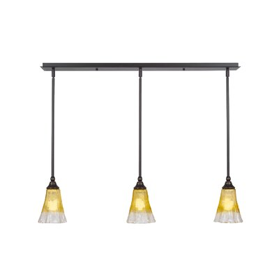 Any 3-Light Kitchen Island Pendant Finish: Dark Granite, Shade Color: Gold Champagne