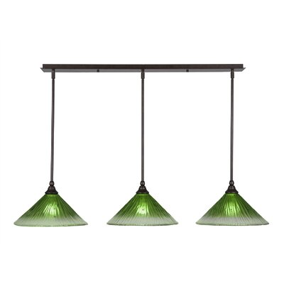 Any 3-Light Kitchen Island Pendant Finish: Bronze, Shade Color: Gold Champagne