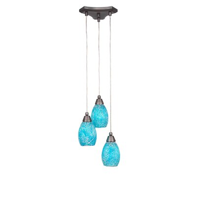 Europa 3-Light Cascade Pendant Shade Color: Turquoise