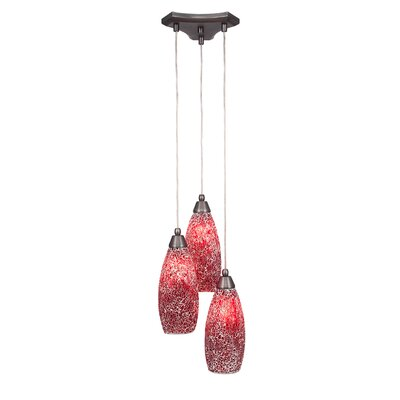Europa 3-Light Cascade Pendant Shade Color: Red
