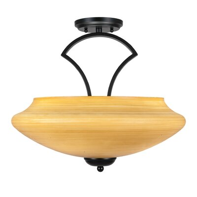 Zilo 3-Light Semi Flush Mount Finish: Matte Black, Shade Color: Cayenne