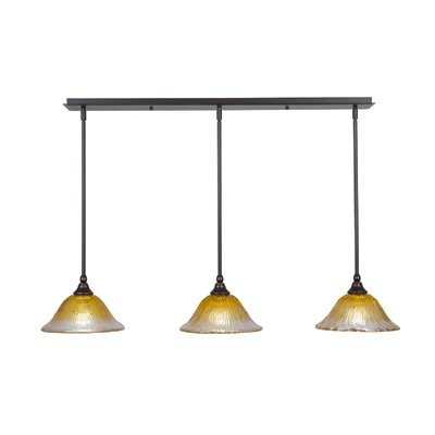 3-Light Kitchen Island Pendant Finish: Bronze, Shade Color: Gold Champagne