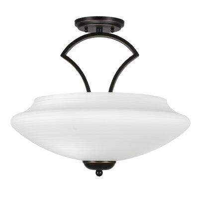 Zilo 3-Light Semi Flush Mount Finish: Dark Granite, Shade Color: White