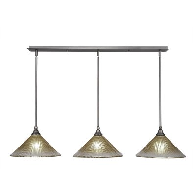 3-Light Kitchen Island Pendant Finish: Brushed Nickel, Shade Color: Amber, Shade Size: 12