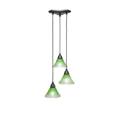 Europa 3-Light Cascade Pendant Shade Color: Kiwi Green