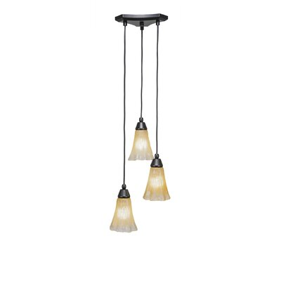 Europa 3-Light Cascade Pendant Shade Color: Fluted Amber