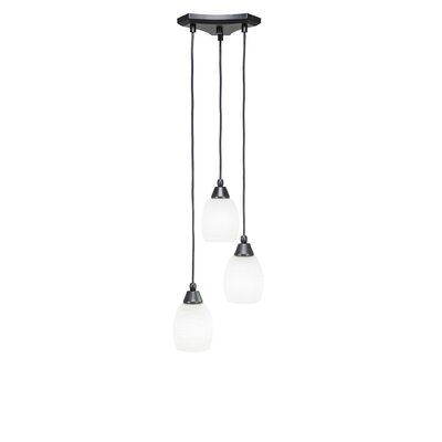 Europa 3-Light Cascade Pendant Shade Color: White