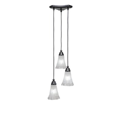 Europa 3-Light Cascade Pendant Shade Color: Fluted Frosted