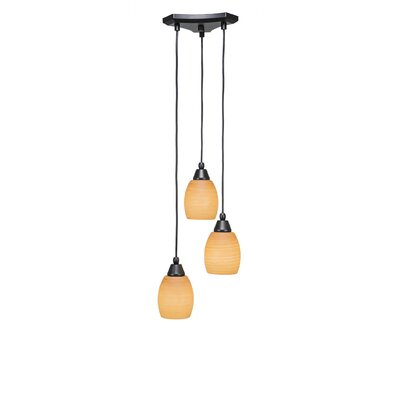 Europa 3-Light Cascade Pendant Shade Color: Cayenne