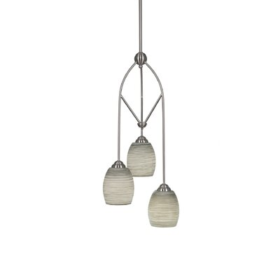 Contempo 3-Light Multi Mini Pendant With Hang Straight Swivel Finish: Brushed Nickel, Shade Color: Gray