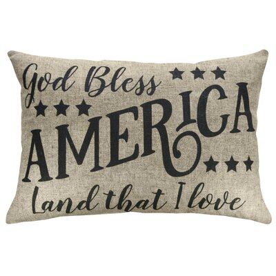 Fenley God Bless America Linen Throw Pillow