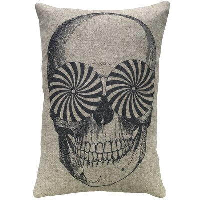 Aurand Skull Linen Throw Pillow