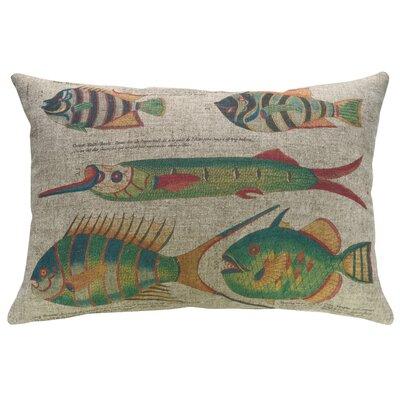 Pennebaker Fish Lithograph Linen Throw Pillow