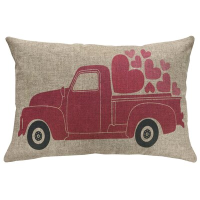 Finkel Valentines Day Truck Linen Throw Pillow