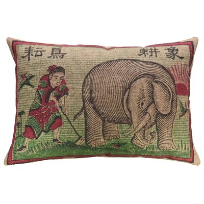 Hodapp Colorful Elephant Linen Throw Pillow