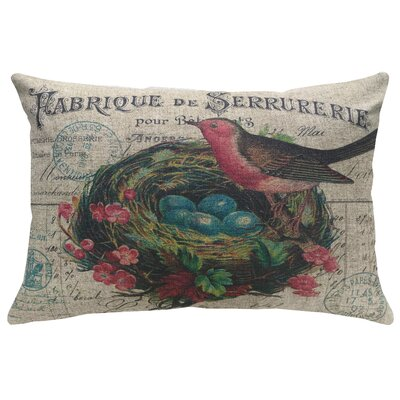 Krogman Bird with Nest Linen Throw Pillow