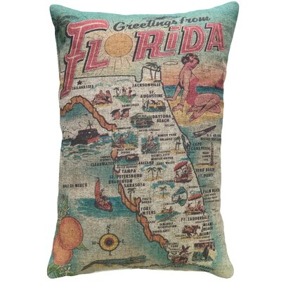 Cianciolo Florida Map Linen Throw Pillow