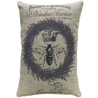 Krout Lavender Bee Linen Throw Pillow