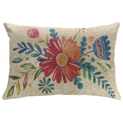 Lakewood Floral Watercolor Linen Throw Pillow