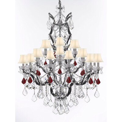 Quillen 25-Light Candle-Style Chandelier Shade Color: White, Crystal Color: Red