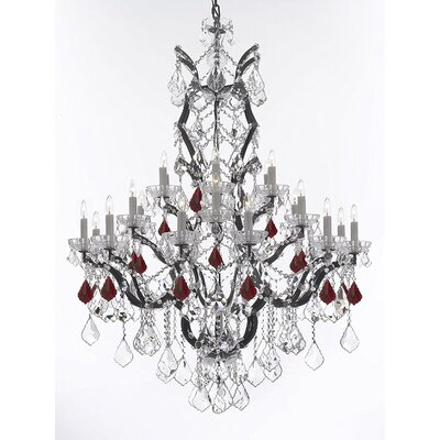 Quillen 25-Light Candle-Style Chandelier Crystal Color: Red