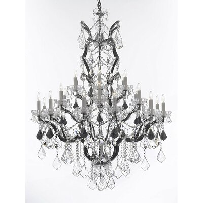 Quillen 25-Light Candle-Style Chandelier Crystal Color: Black
