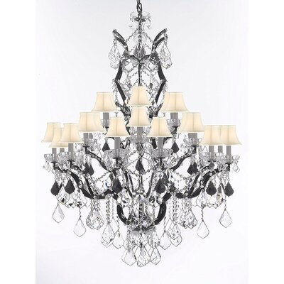 Quillen 25-Light Candle-Style Chandelier Shade Color: White, Crystal Color: Black