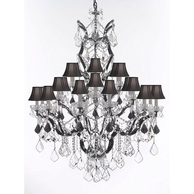 Quillen 25-Light Candle-Style Chandelier Shade Color: Black, Crystal Color: Black