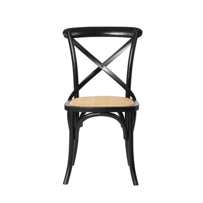 Weldy Solid Wood Dining Chair Color (Upholstery): Black