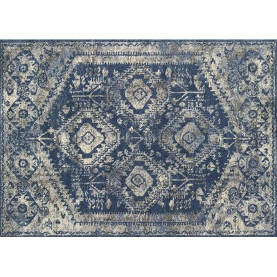 Aparicio Blue/Pebble Area Rug Rug Size: Rectangle 92 x 127