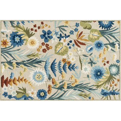 Paulin Hand-Hooked Beige/Lagoon Area Rug Rug Size: Rectangle 76 x 96