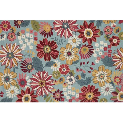 Paulin Hand-Hooked Aqua/Red Area Rug Rug Size: Rectangle 5 x 76