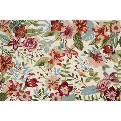 Paulin Hand-Hooked Ivory/Berry Area Rug Rug Size: Rectangle 23 x 39