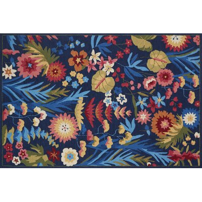 Paulin Hand-Hooked Navy/Fiesta Area Rug Rug Size: Rectangle 36 x 56