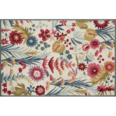 Paulin Hand-Hooked Ivory/Fiesta Area Rug Rug Size: Rectangle 76 x 96