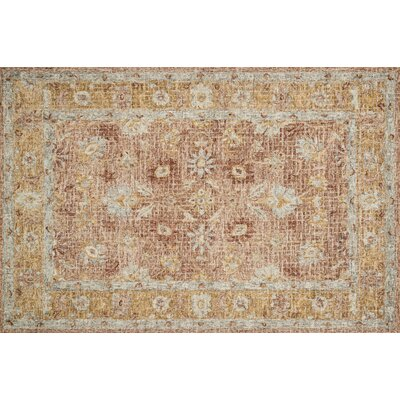 Fitzwater Hand-Hooked Wool Terracotta/Gold Area Rug Rug Size: Rectangle 5 x 76