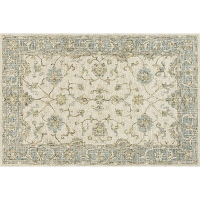 Fitzwater Hand-Hooked Wool Ivory/Spa Area Rug Rug Size: Rectangle 79 x 99