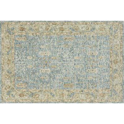 Fitzwater Hand-Hooked Wool Blue/Gold Area Rug Rug Size: Rectangle 5' x 7'6
