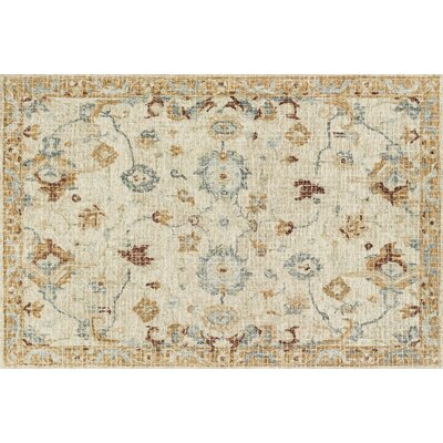 Fitzwater Hand-Hooked Wool Ivory Area Rug Rug Size: Rectangle 5 x 76